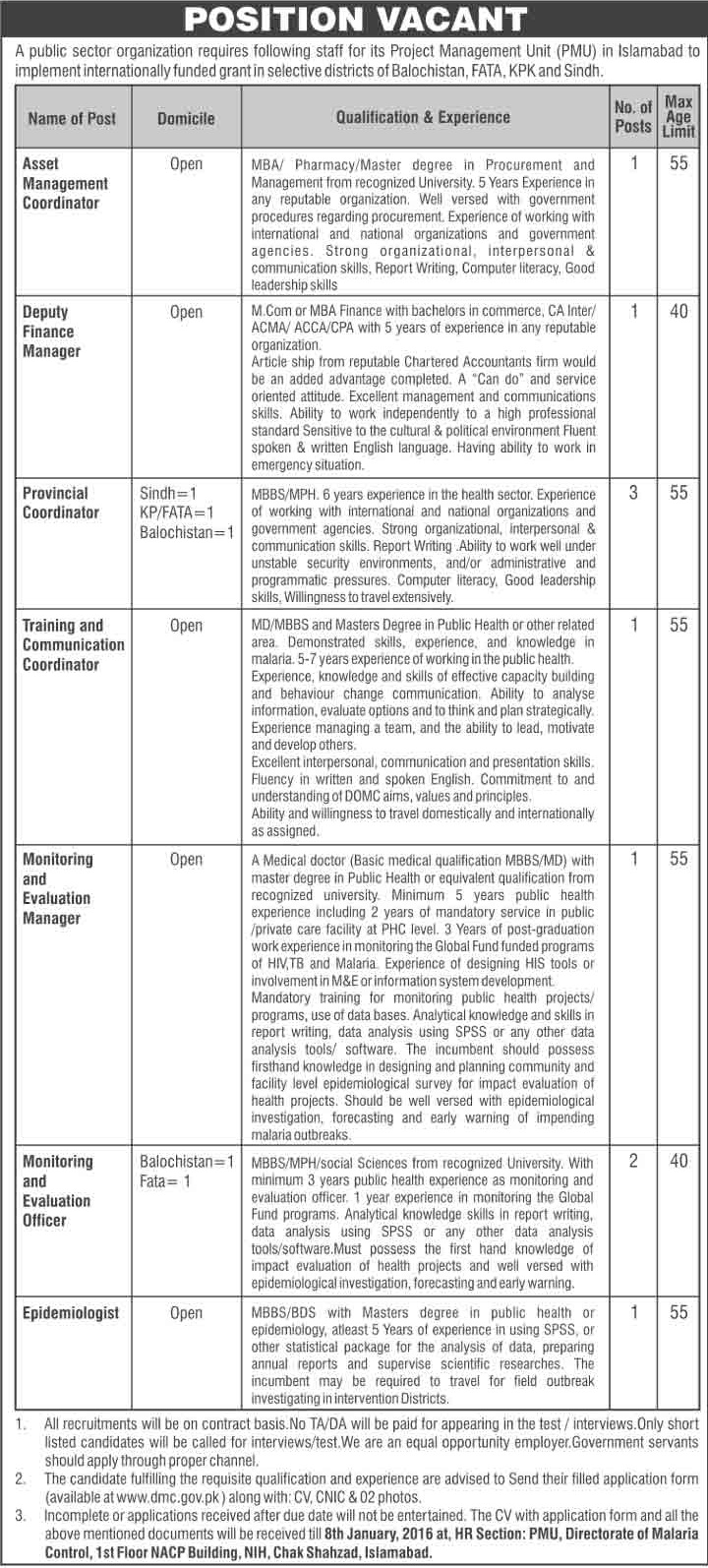 Finance, Admin & MBBS Doctors Jobs in a Public Sector Organization Islamabad