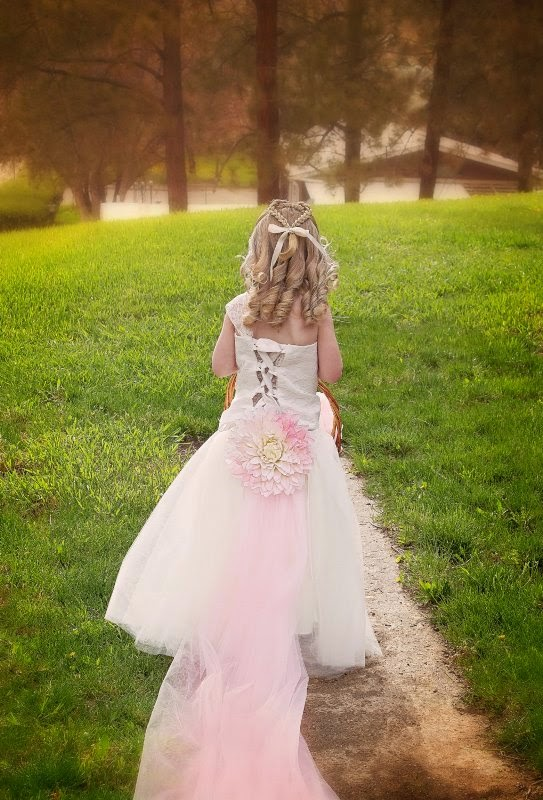 Ivory Flower Girls Tutu Dress with Blush long Train