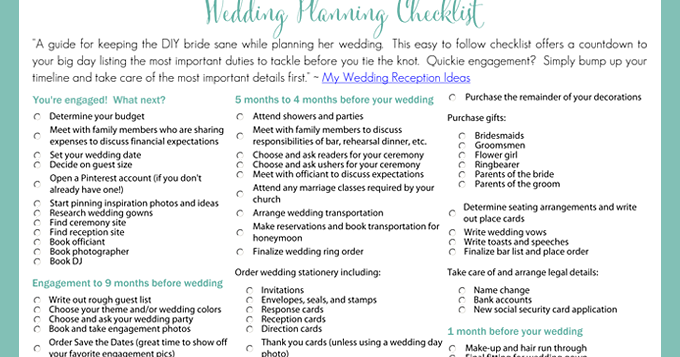 Printable wedding planning checklist for diy brides junglespirit Gallery