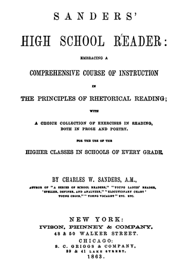 Sanders' High School Reader - Title Page