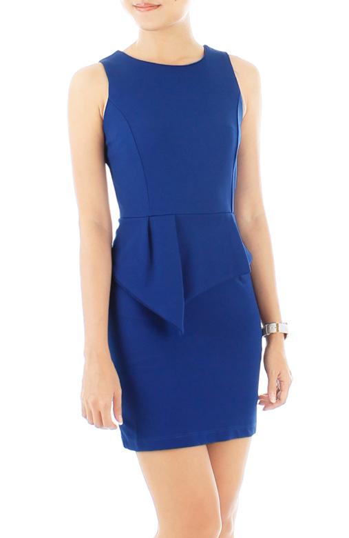 Akira Peplum PETITE Dress - Blue