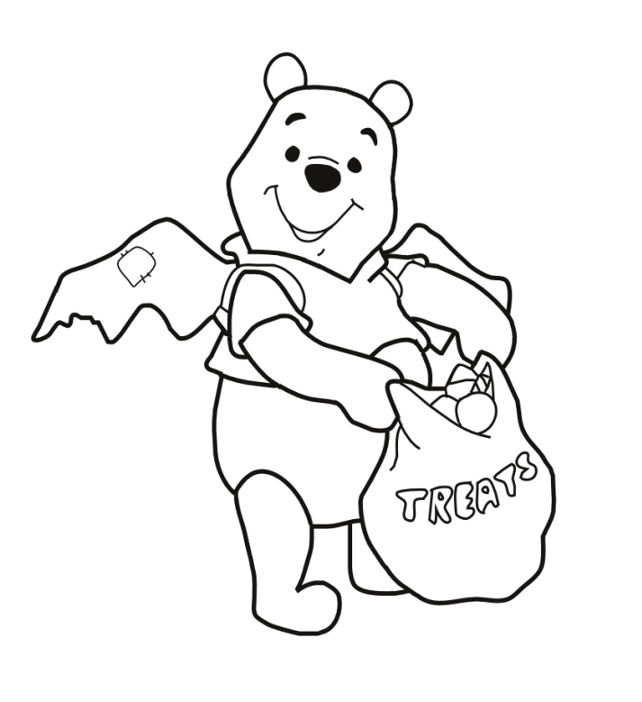 Delightful Halloween Pooh Treat Coloring Pages