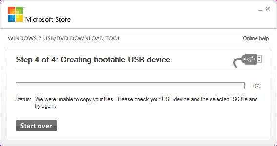 Windows 7 USB/DVD Download Tool - Creating bootable USB device