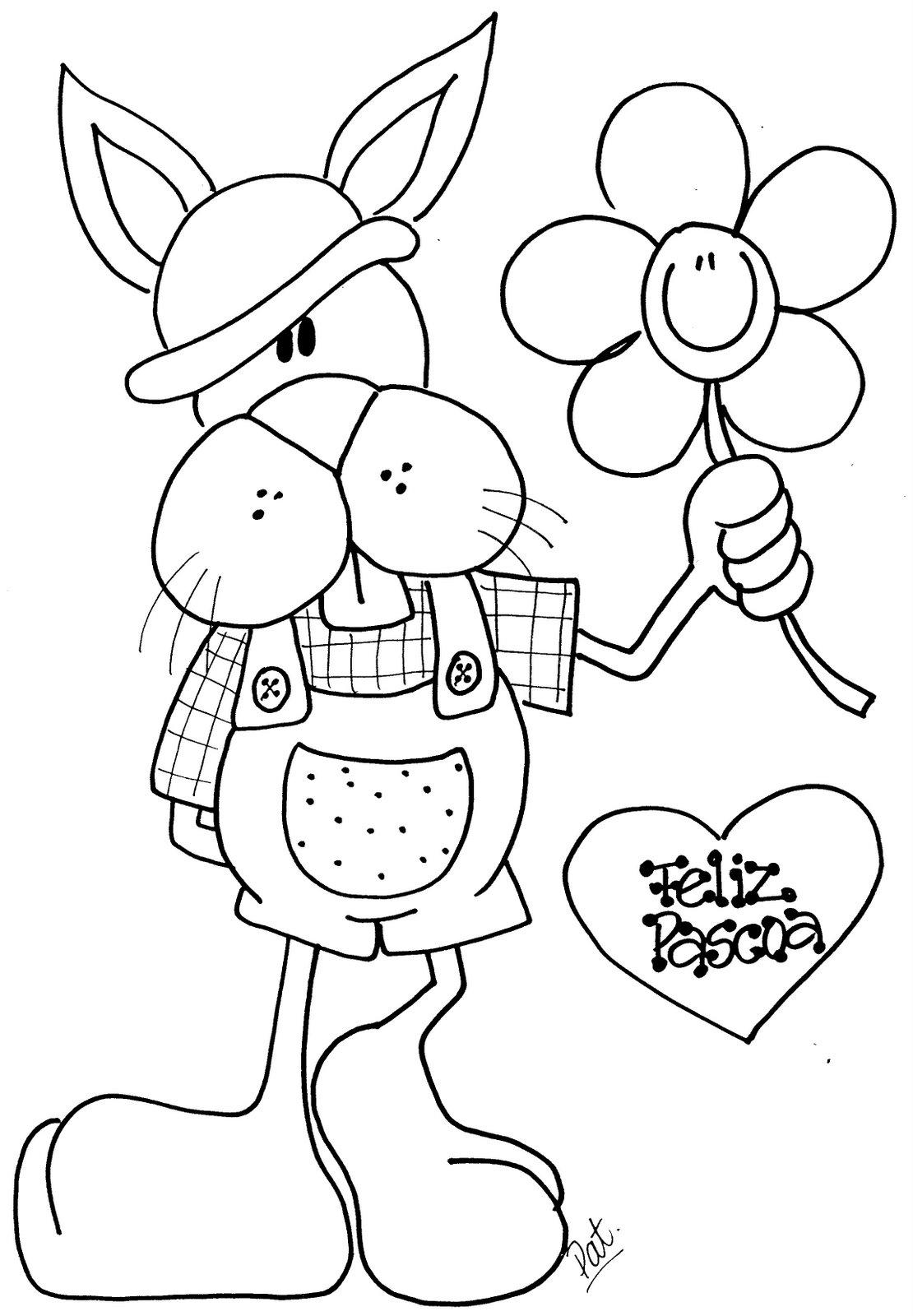 colorir os desenhos Lindos Coelhos da Páscoa