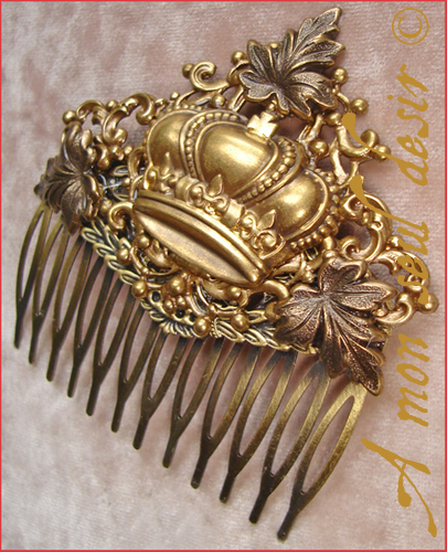 peigne cheveux royal victorien couronne bijou roi reine crown victorian hair comb jewel queen king