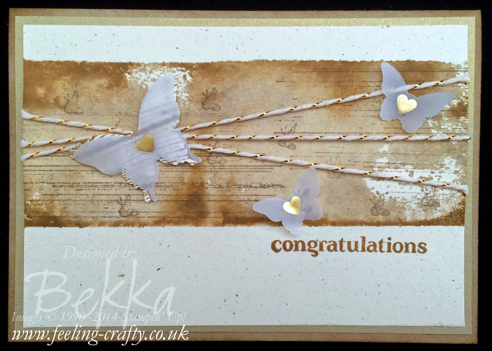 Vellum Butterfly Congratulations Card by UK Stampin' Up! Demonstrator Bekka Prideaux - find out about joining her team here