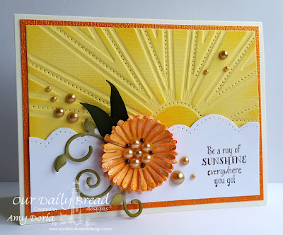 Our Daily Bread Designs Stamp sets: Hello Sunshine, ODBD Custom Dies: Sunburst Background, Asters and Leaves, Fancy Foliage