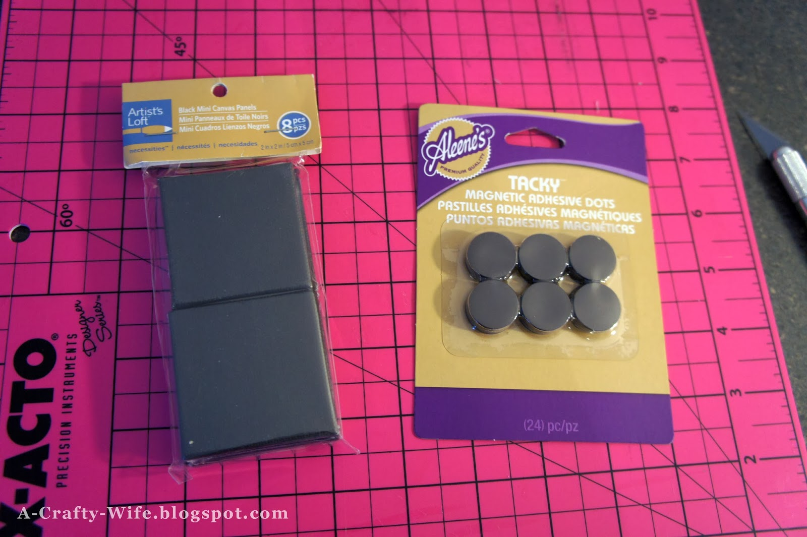 Blank 3x3 canvases and Aleene's tacky magnets for photo magnets | A Crafty Wife