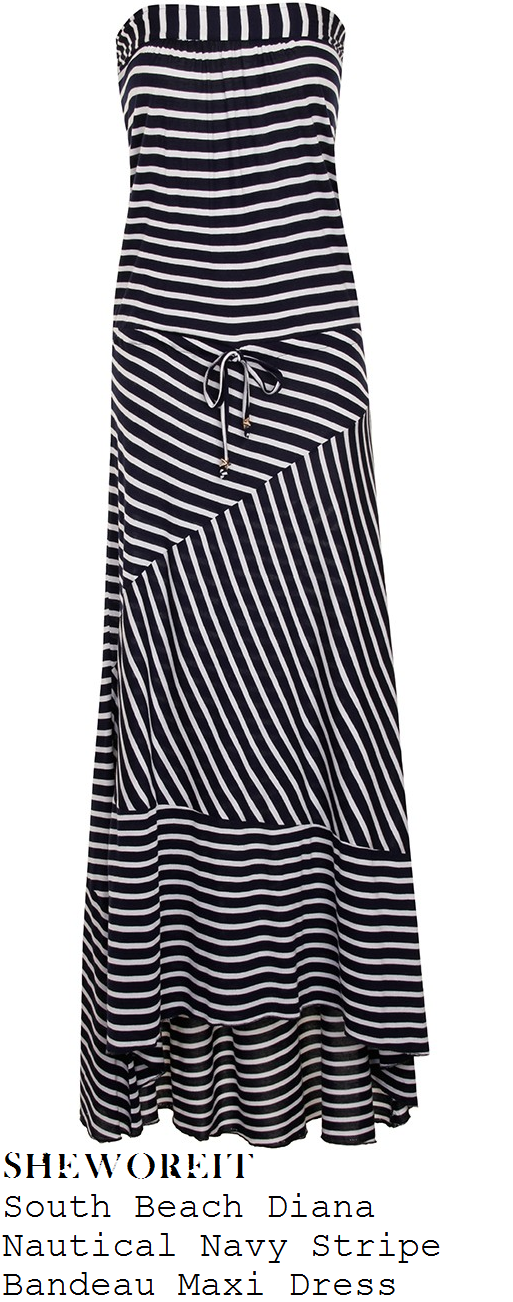 jessica-wright-navy-blue-and-white-stripe-print-bandeau-strapless-maxi-dress