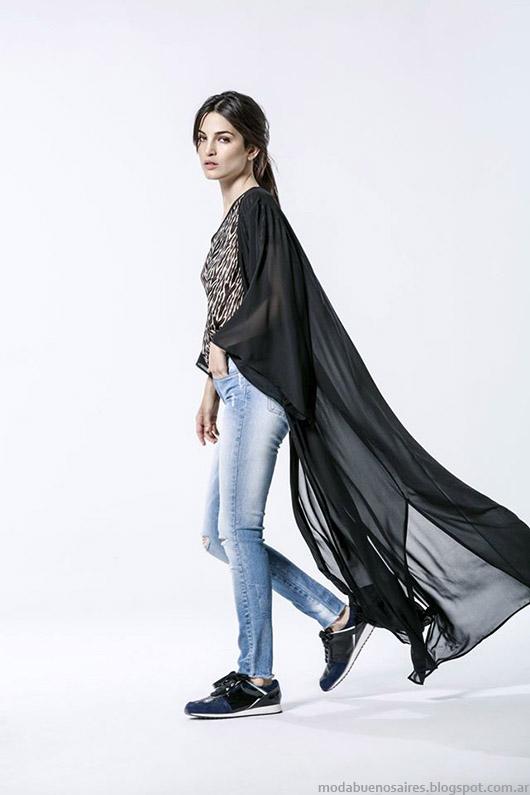 Capas, sacos largos con transparencias Melocoton invierno 2015 moda mujer.