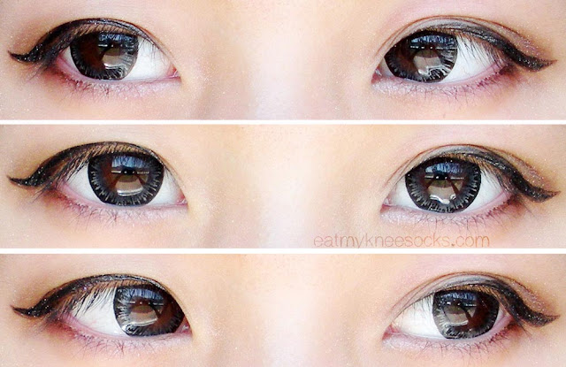 Left, right, and center views of the M.I Contact Tiara Gray ulzzang-style circle lenses from Klenspop.