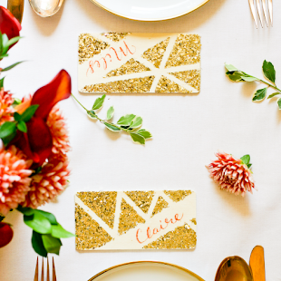 Holiday Favorites: Geo Glitter Chalkboard Place Cards