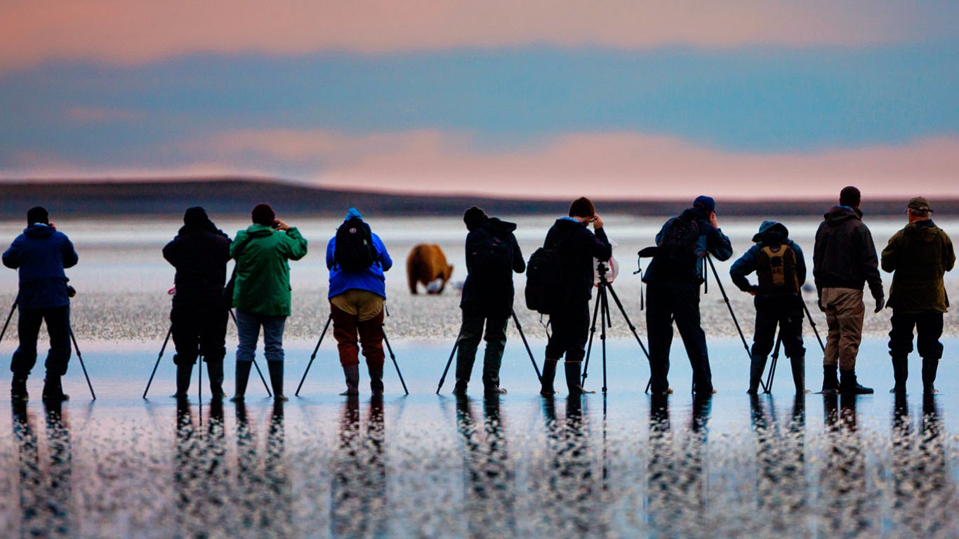 Photographers shooting pictures of brown bears in Lake Clark National Park and Preserve, Alaska (© Art Wolfe/Mint Images) 109