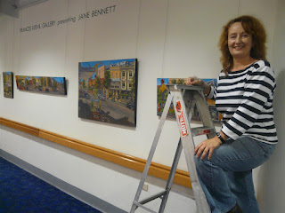 Industrial heritage artist Jane Bennett with her solo exhibition at St Vincent's Hospital