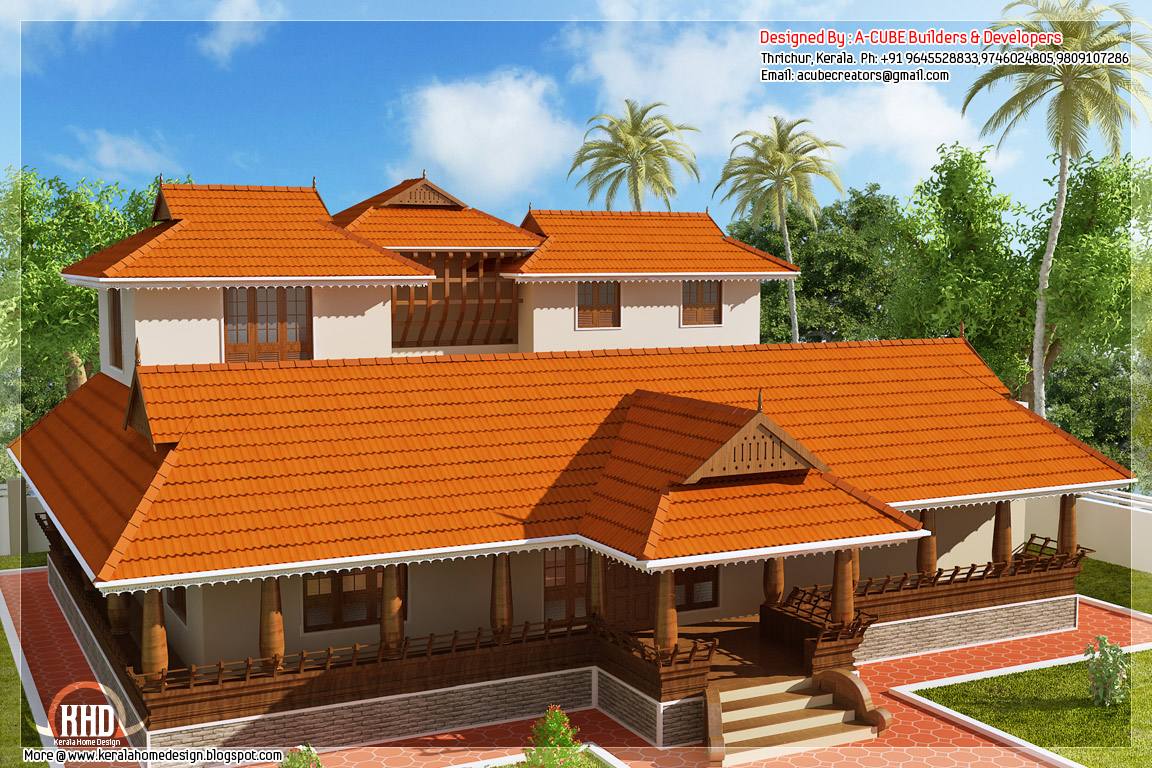 2231 kerala illam model traditional house kerala for Home designs traditional