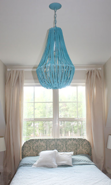 DIY mardi gras bead chandelier