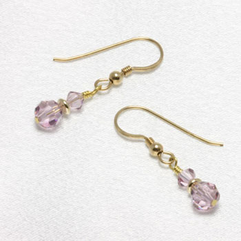 June Birthstone: Light Amethyst Crystal Birthstone Earrings (E045)