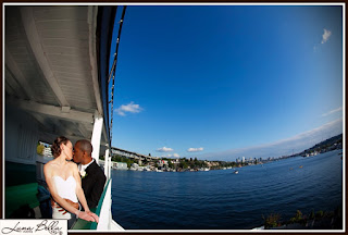 Chris and Karen kiss at the Skansonia Ferry - Ceremony performed by Patricia Stimac, Seattle Wedding Officiant