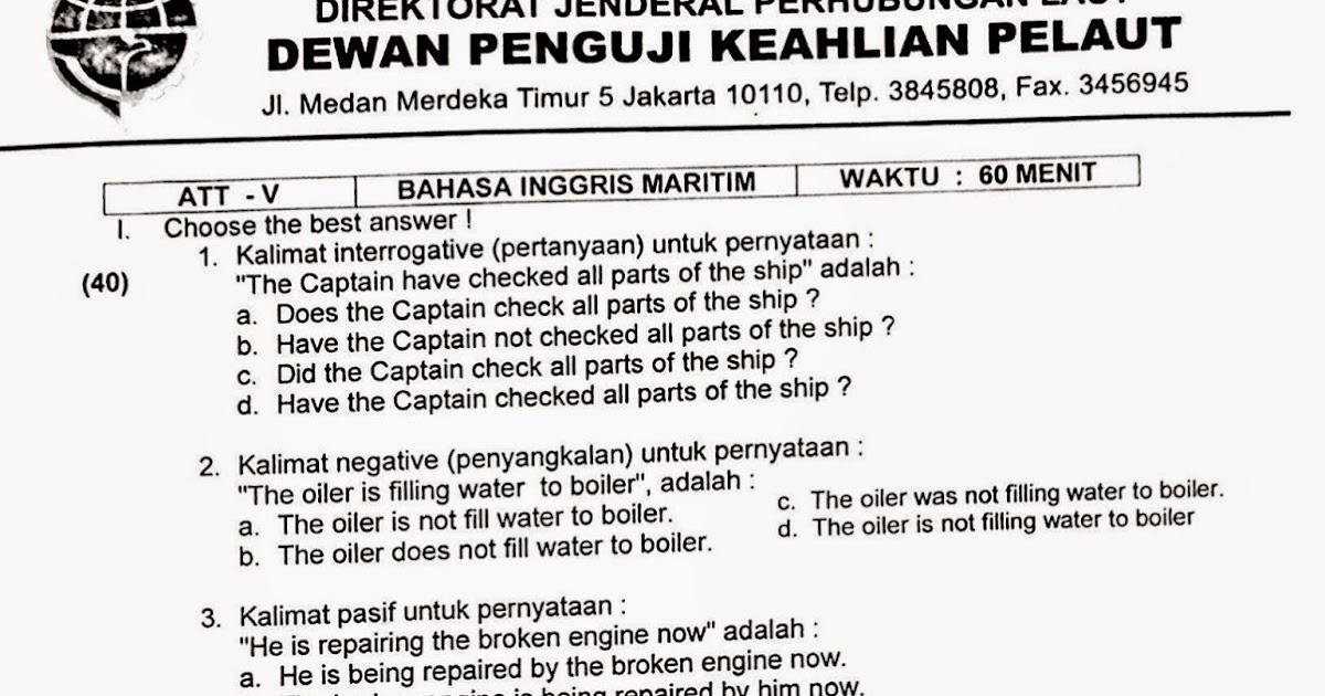 Bahasa Inggris Maritim Ukp Kisi Kisi Soal Jawab Uad Amp Ukp Pelayaran