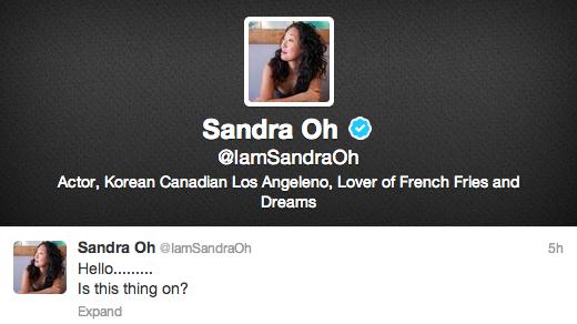 Sandra Oh joins twitter