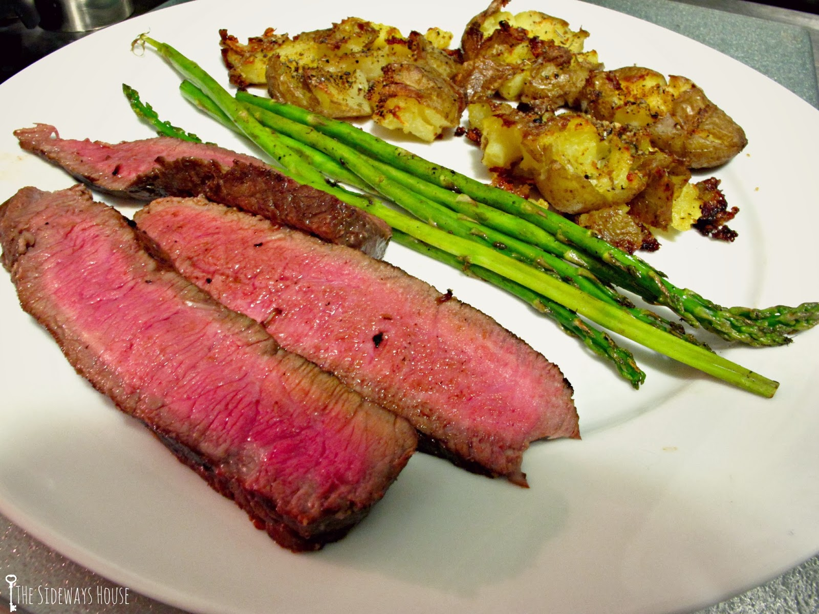 The Sideways House: London Broil and Crispy Smashed Potatoes