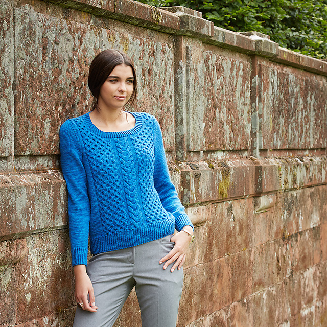 Mercury cabled sweater pattern by Katya Frankel