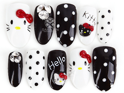 Hand Made Nail Tips, Hello Kitty Nail tips, Sara Nail Hand Made nail tips!