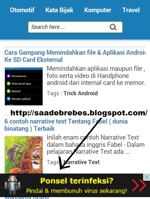 Cara mudah membuat iklan adsense melayang dibawah versi smartphone (mobile)