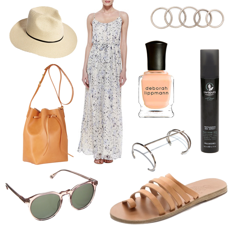 ASOS straw hat, Joie Muceka floral maxi dress, Deborah Lippmann nail polish in Tip Toe Through the Tulips, Lumo Aztec cuff, Ancient Greek Sandals, Raen Optics sunglasses, Mansur Gavriel bucket bag, Luv Aj petite band ring set, Awapui wild ginger sea spray