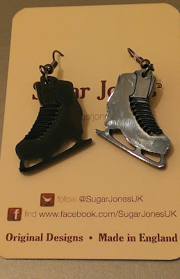 Sugar Jones black iceskates earrings