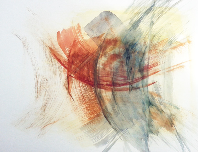 abstract gestural watercolor painting, conceptual modern contemporary art, rust blue yellow and white, raw brushstrokes
