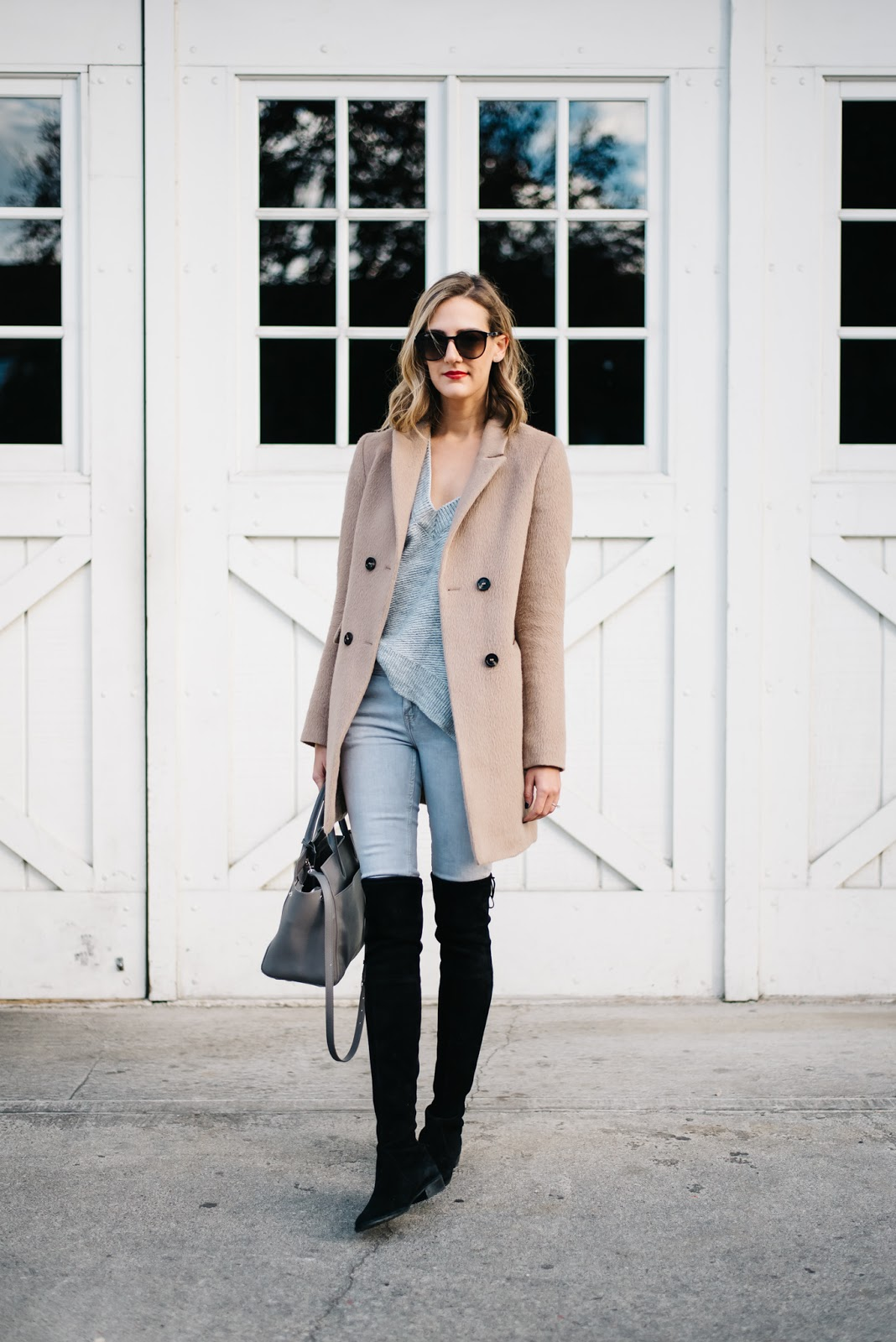 gray and camel outfit