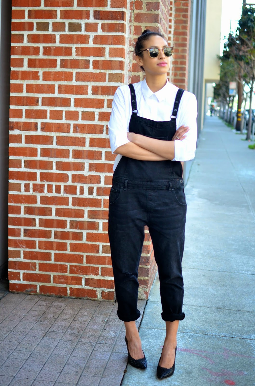 Allergic to Vanilla, SF style blogger, Jean Michel Cazabat, black denim overalls, zara overalls, perforated wedge heels, crisp white oxford shirt, how to style overalls, Ray-Ban Clubmasters, black tuxedo blazer