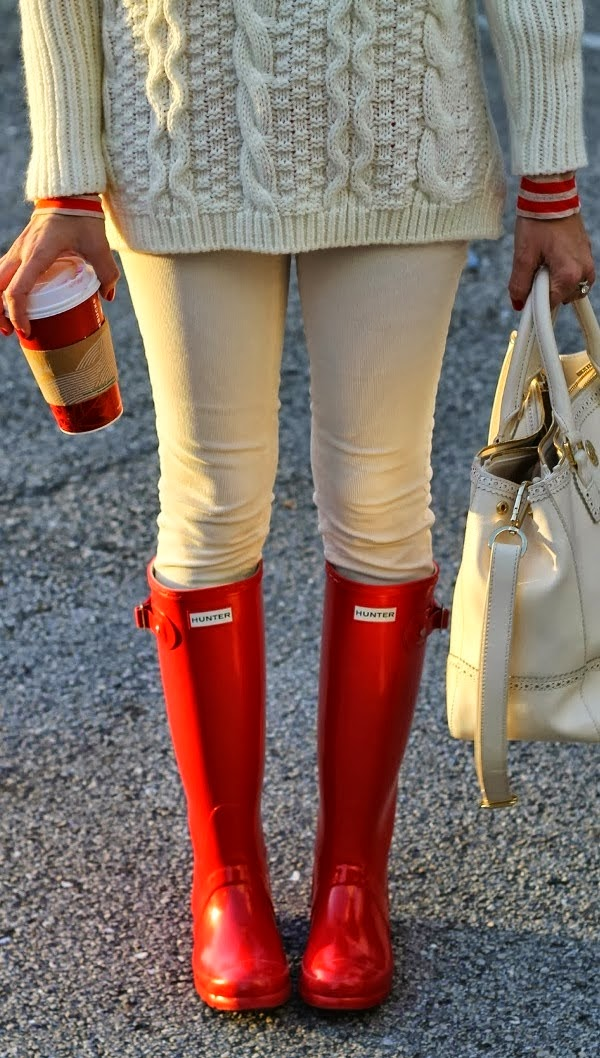 Cable knit sweater, denim and long red boots