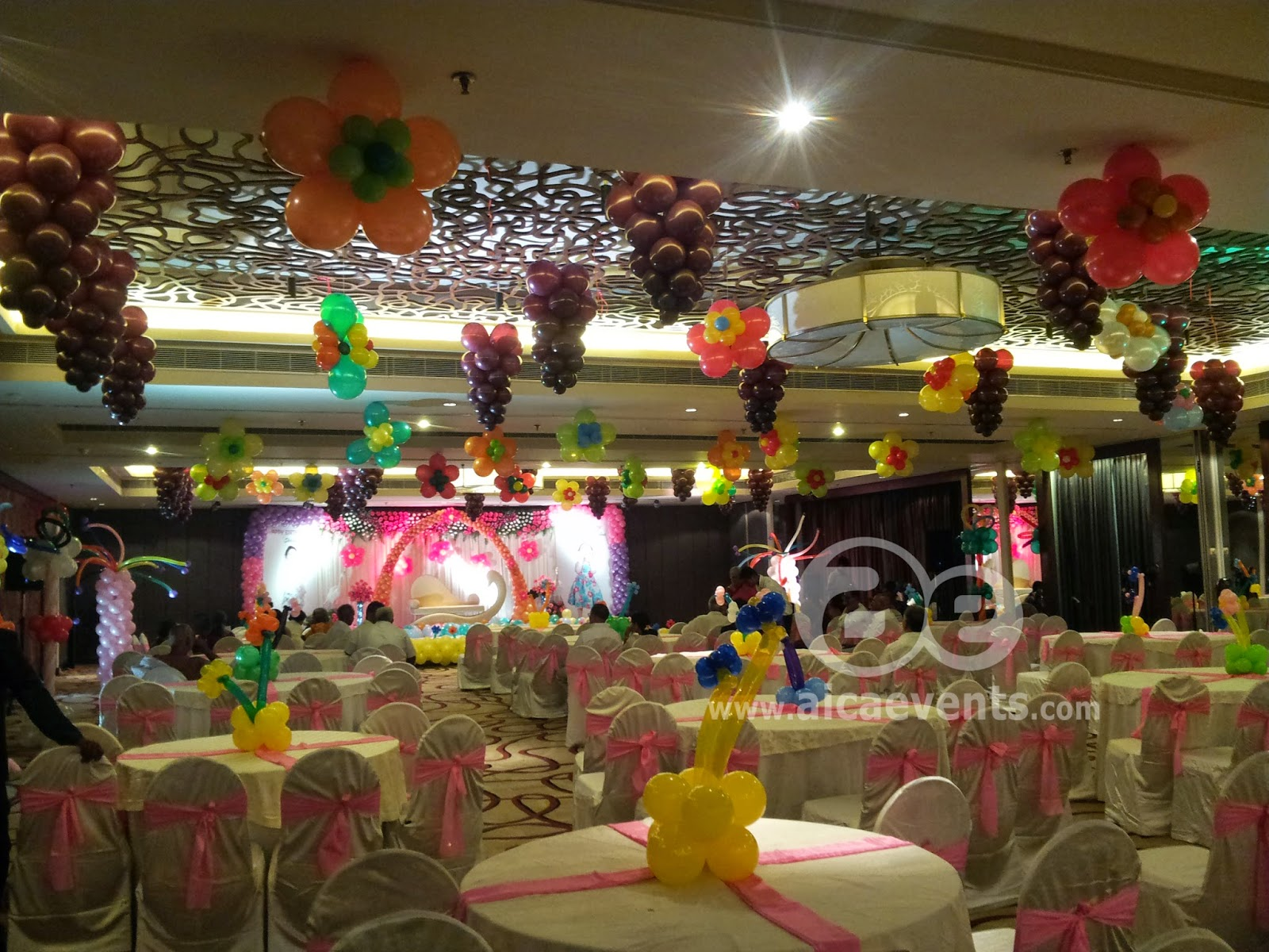 Aicaevents balloon decorations for birthday parties for Balloon decoration for ceiling