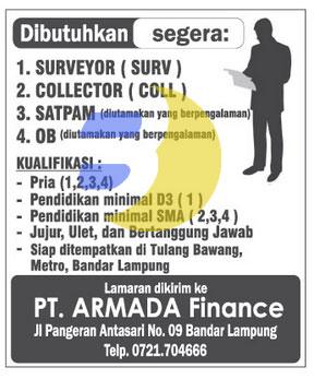 Lowongan Kerja Lampung, Minggu 19 April 2015 di perusahaan PT. ARMADA FINANCE