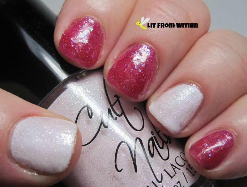 Cult Nails Angel Whispers, a textured pale, pale pink, and Darling Diva Polish Rose Opal, a pink jelly with flakies