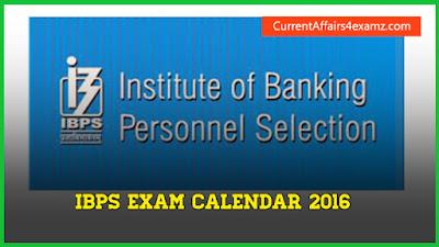 IBPS Exam Calendar 2016