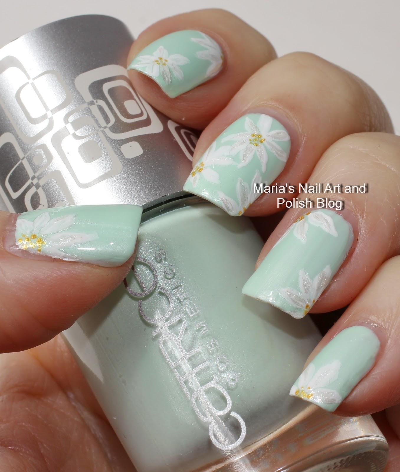 Marias Nail Art And Polish Blog: Subtle Floral Nail Art On