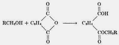Phthalic anhydride reacts wit primary alcohols forming an acid phthalic ester