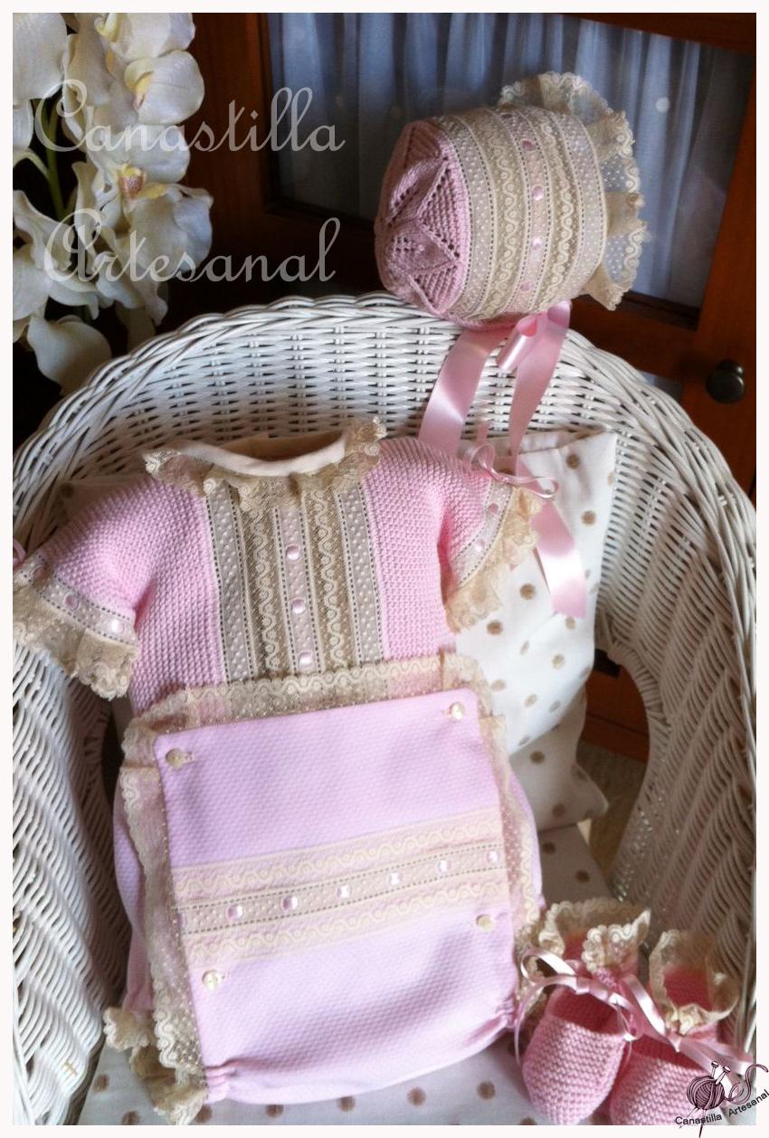 Canastilla artesanal conjunto en rosa y tostado - Canastilla artesanal bebe ...