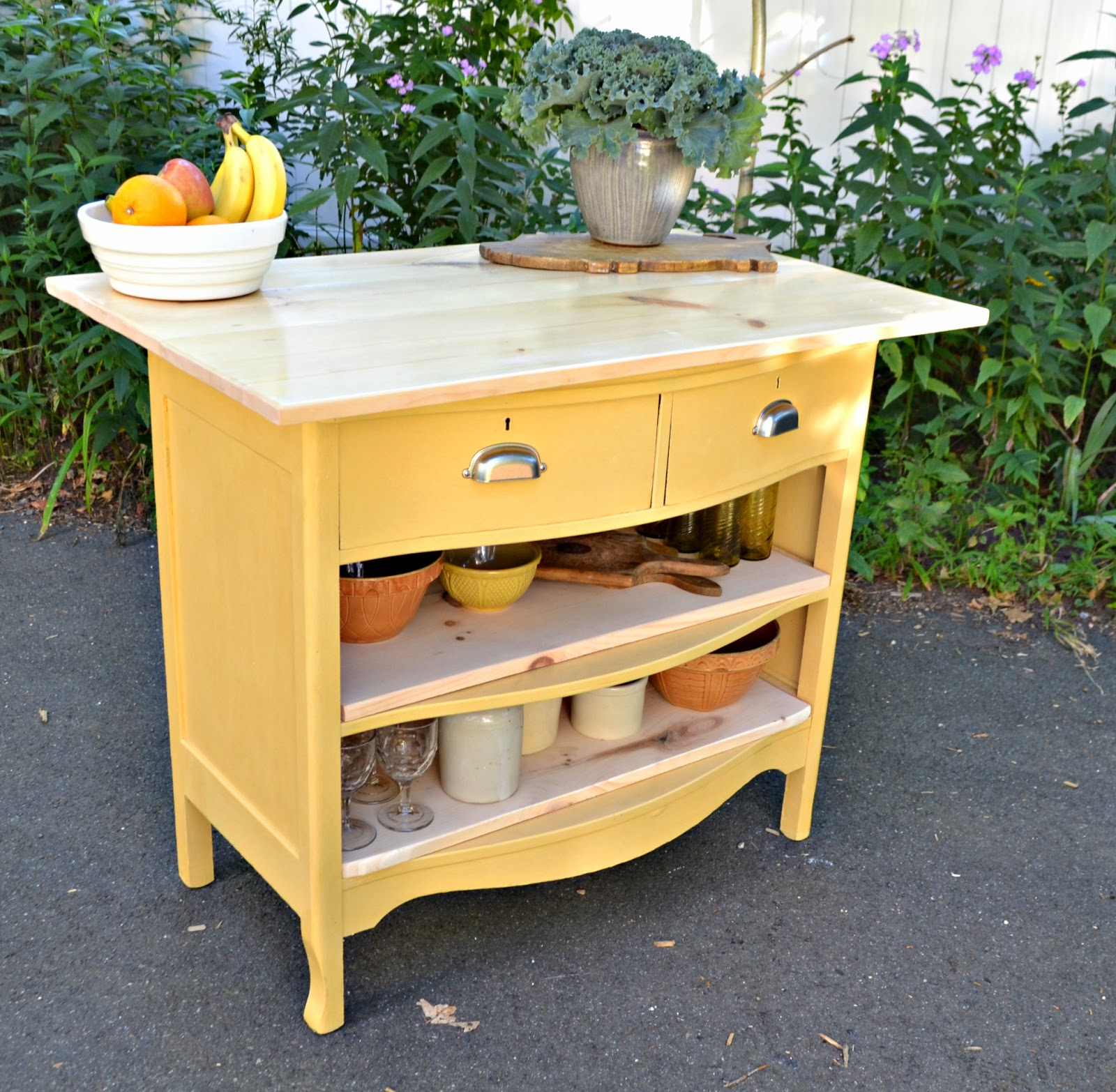 Kitchen Island Made From Antique Buffet: Heir And Space: Antique Dresser Turned Kitchen Island