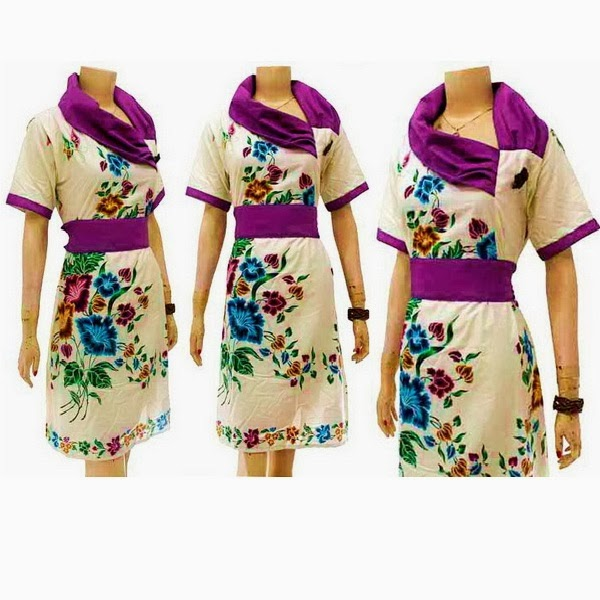 DB3615 Model Baju Dress Batik Modern Terbaru 2014