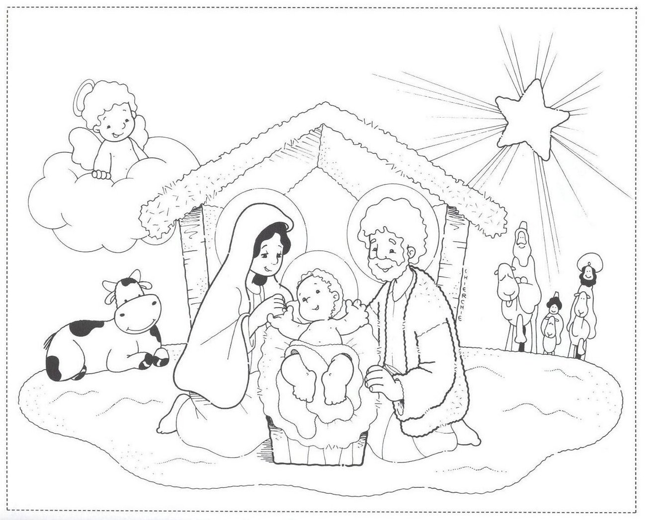 how to draw a manger with baby jesus in it