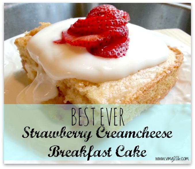 Strawberry Cream Cheese Breakfast Cake from VMG206 | Featured on Making the World Cuter for Beautiful Food Photography