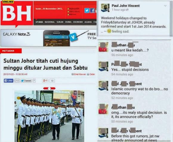 Ada Rakyat Johor Yang Tak Puas Hati Cuti Jumaat? | Beberapa status yang dimuatnaik pengguna Facebook mengenai cuti mingguan negeri Johor Darul Takzim yang ditukar pada hari Jumaat dan Sabtu telah tersebar di aplikasi whatsapp dan laman sosial yang lain.