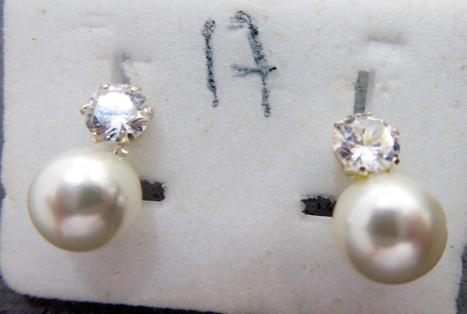 Pendientes de perla y circonita