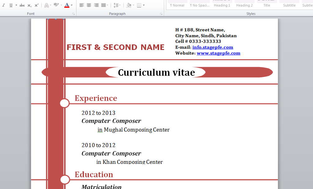 exemple cv doc word