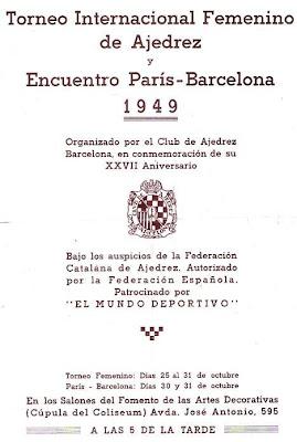 Cartel del Torneo Internacional de Ajedrez Femenino y el Encuentro París-Barcelona 1949