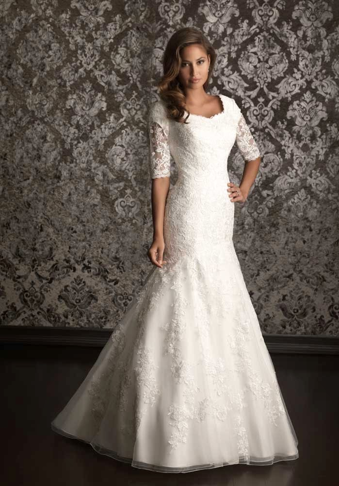 Casual Formal Wedding Dresses Lace half Sleeves Design pictures hd